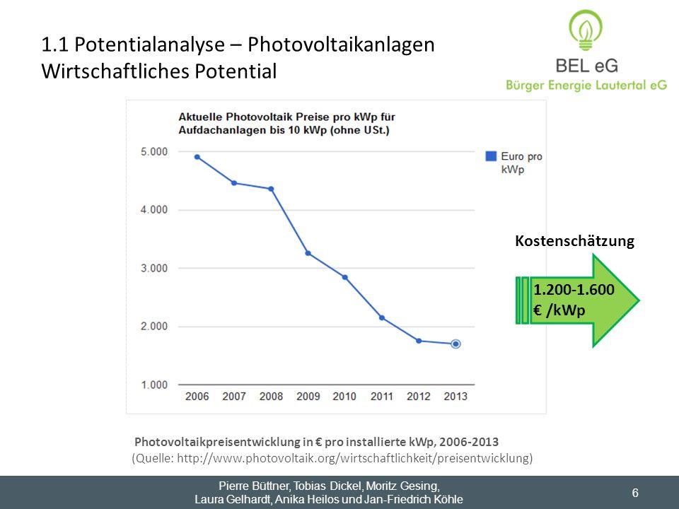 6 Photovoltaikpreisentwicklung in pro installierte kWp, 2006-2013 (Quelle: http://www.photovoltaik.org/wirtschaftlichkeit/preisentwicklung) 1.200-1.60