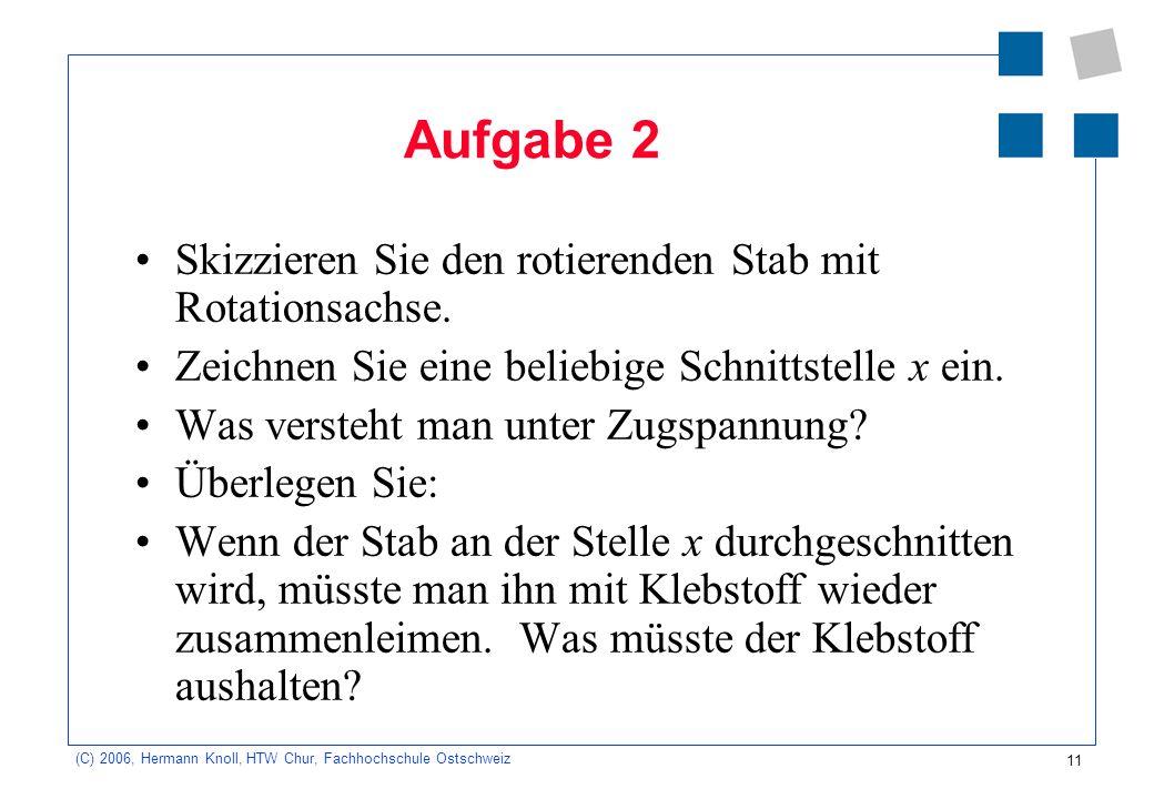 11 (C) 2006, Hermann Knoll, HTW Chur, Fachhochschule Ostschweiz Aufgabe 2 Skizzieren Sie den rotierenden Stab mit Rotationsachse. Zeichnen Sie eine be