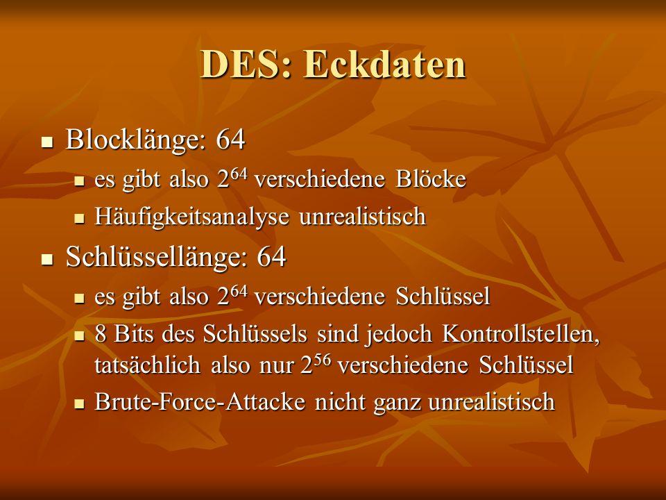 DES: Eckdaten Blocklänge: 64 Blocklänge: 64 es gibt also 2 64 verschiedene Blöcke es gibt also 2 64 verschiedene Blöcke Häufigkeitsanalyse unrealistis