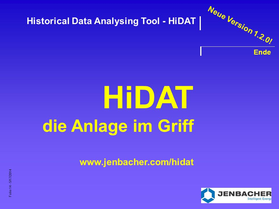 Folie 14 - 5/17/2014 Historical Data Analysing Tool - HiDAT Ende HiDAT die Anlage im Griff www.jenbacher.com/hidat Neue Version 1.2.0!