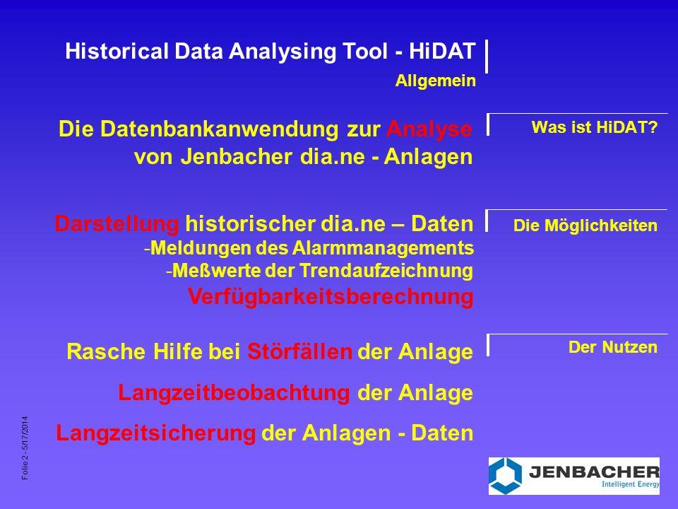 Folie 3 - 5/17/2014 Historical Data Analysing Tool - HiDAT Systemvoraussetzungen Minimal Empfohlen Pentium - PC 64 MB RAM, 250 MB HDD 17 - Bildschirm (1024 x 768) Win 98 (SE), NT 4.0, 2000, XP Pentium III - PC 128 MB RAM, 4 GB HDD 19 - Bildschirm (mind.
