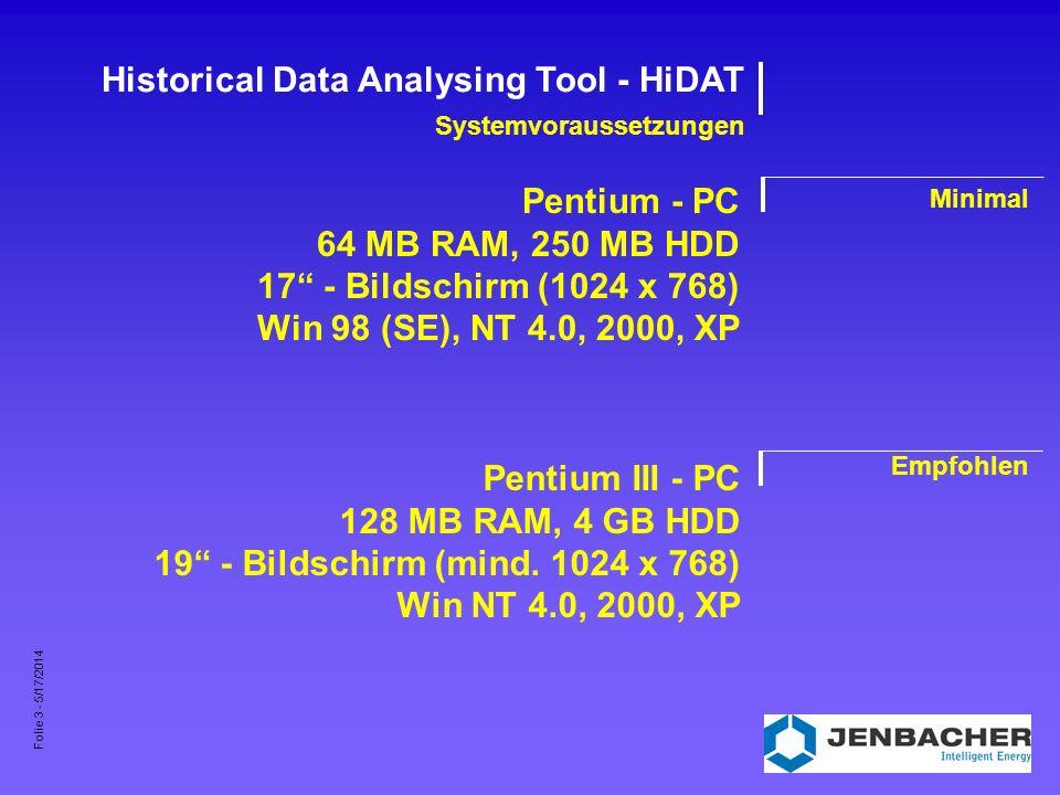 Folie 4 - 5/17/2014 Historical Data Analysing Tool - HiDAT Technischer Hintergrund Applikation Datenbank 32 Bit - Windowsapplikation Microsoft Data Access Components 2.6 Kopierschutz mittels Softwareschutzstecker MS SQL Server 2000 Desktop Edition - oder - MS SQL Server V7.0