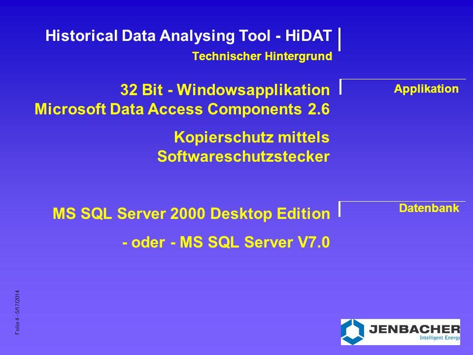 Folie 5 - 5/17/2014 Historical Data Analysing Tool - HiDAT Bedienung I Programm- oberfläche