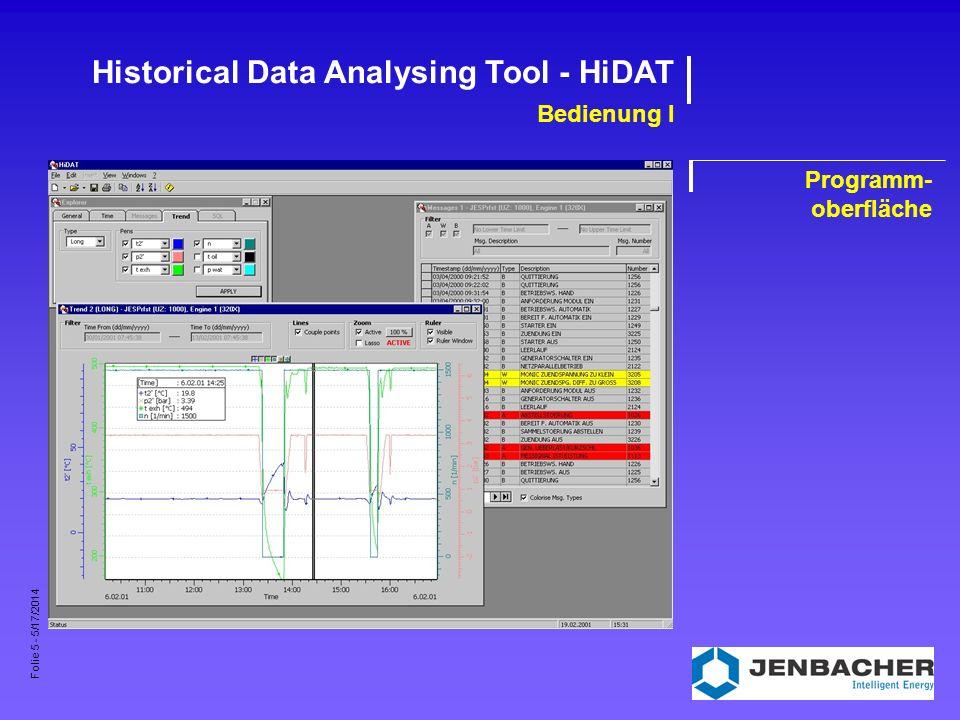 Folie 6 - 5/17/2014 Historical Data Analysing Tool - HiDAT Bedienung II Anlagenverwaltung