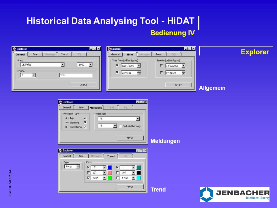 Folie 8 - 5/17/2014 Historical Data Analysing Tool - HiDAT Bedienung IV Explorer AllgemeinMeldungenTrend