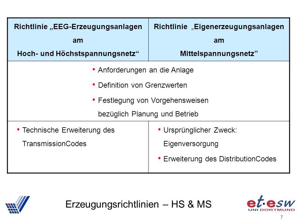 7 Erzeugungsrichtlinien – HS & MS Richtlinie EEG-Erzeugungsanlagen am Hoch- und Höchstspannungsnetz Richtlinie Eigenerzeugungsanlagen am Mittelspannun