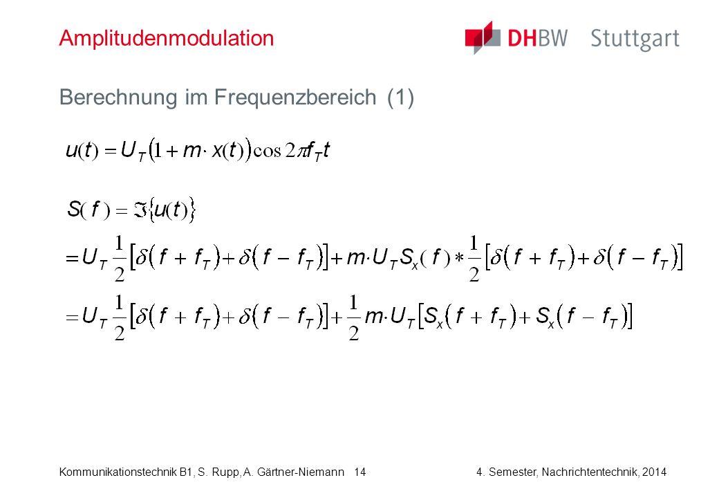 Kommunikationstechnik B1, S. Rupp, A. Gärtner-Niemann4. Semester, Nachrichtentechnik, 2014 14 Amplitudenmodulation Berechnung im Frequenzbereich (1)