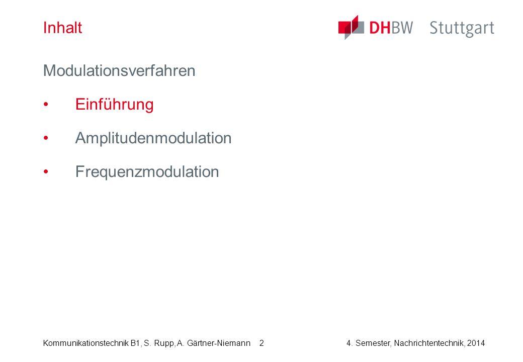 Kommunikationstechnik B1, S. Rupp, A. Gärtner-Niemann4. Semester, Nachrichtentechnik, 2014 2 Inhalt Modulationsverfahren Einführung Amplitudenmodulati