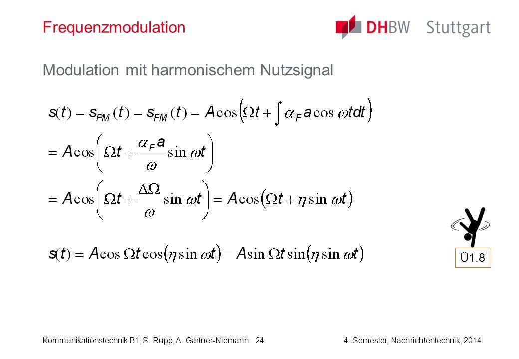 Kommunikationstechnik B1, S. Rupp, A. Gärtner-Niemann4. Semester, Nachrichtentechnik, 2014 24 Frequenzmodulation Modulation mit harmonischem Nutzsigna