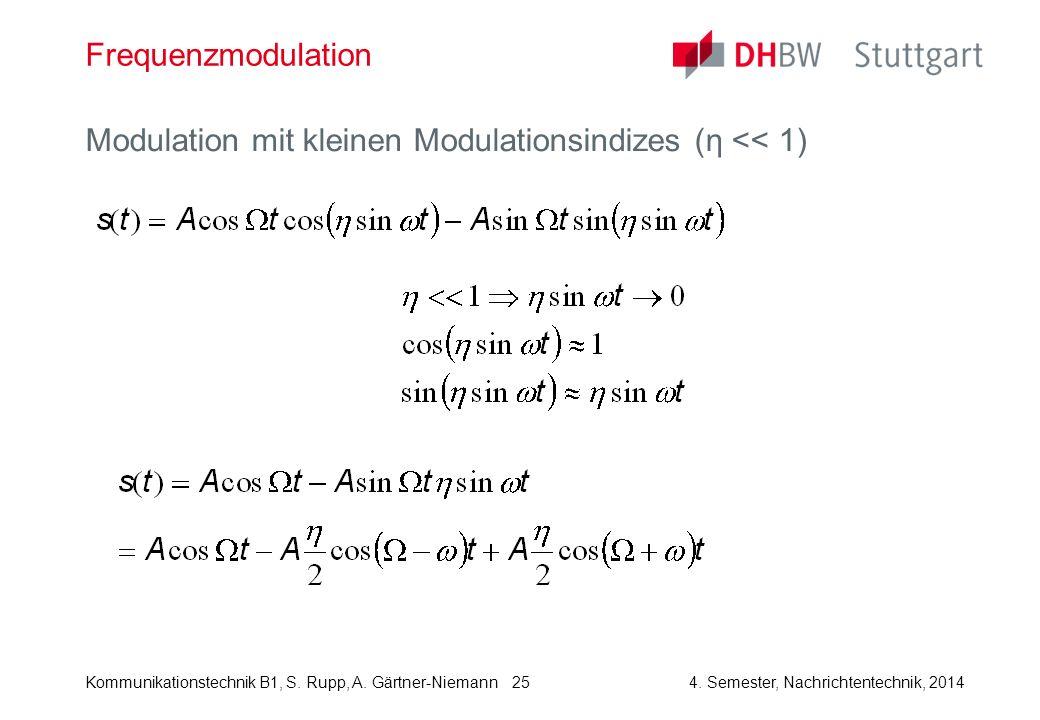 Kommunikationstechnik B1, S. Rupp, A. Gärtner-Niemann4. Semester, Nachrichtentechnik, 2014 25 Frequenzmodulation Modulation mit kleinen Modulationsind