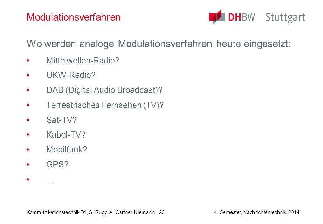 Kommunikationstechnik B1, S. Rupp, A. Gärtner-Niemann4. Semester, Nachrichtentechnik, 2014 26 Modulationsverfahren Wo werden analoge Modulationsverfah