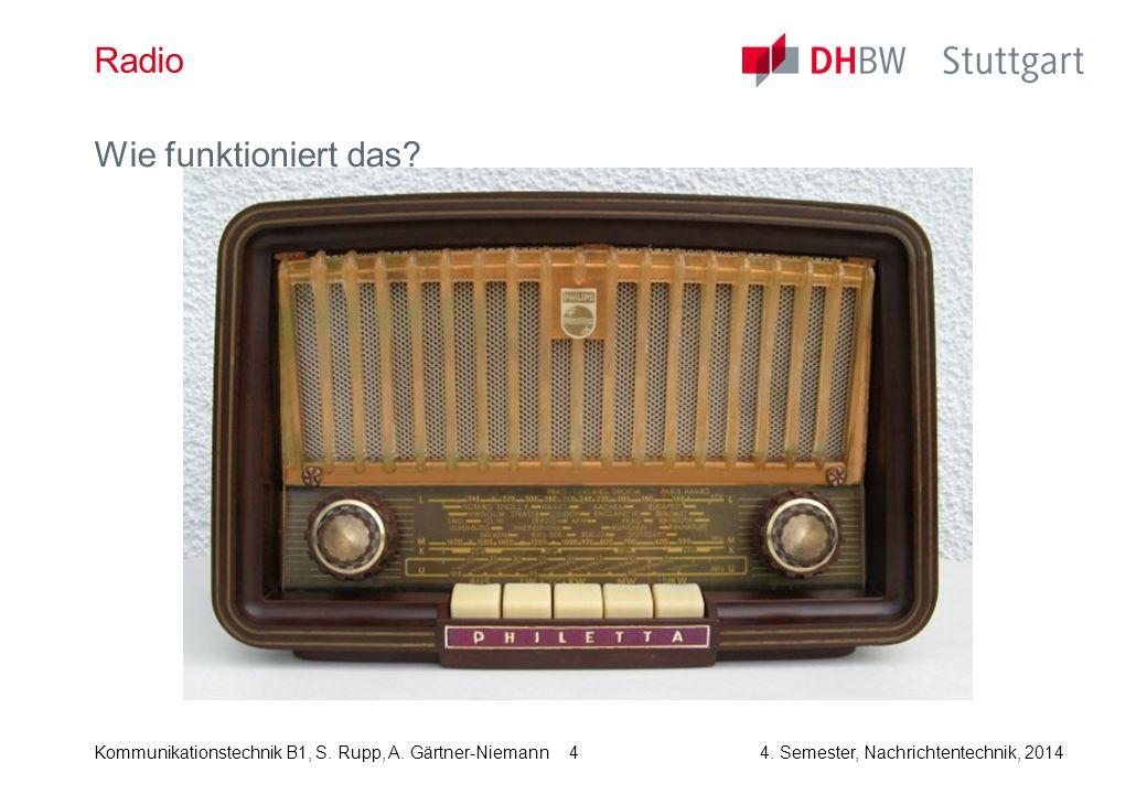 Kommunikationstechnik B1, S. Rupp, A. Gärtner-Niemann4. Semester, Nachrichtentechnik, 2014 4 Radio Wie funktioniert das?