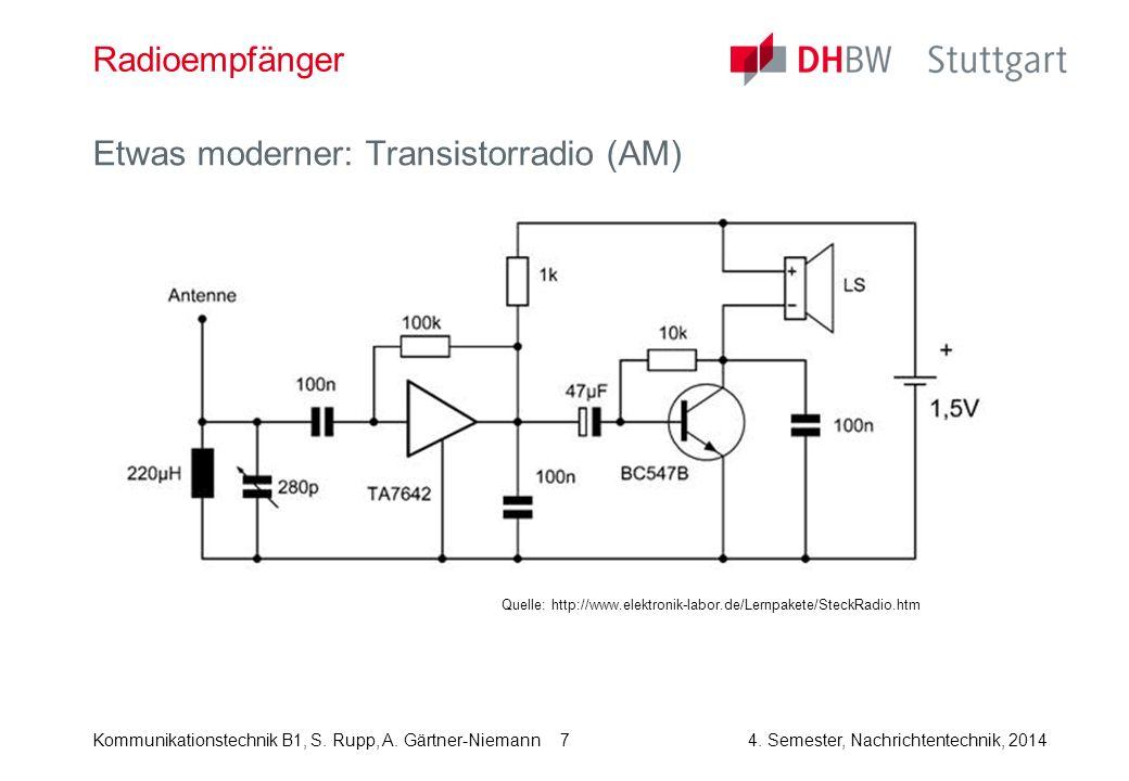 Kommunikationstechnik B1, S. Rupp, A. Gärtner-Niemann4. Semester, Nachrichtentechnik, 2014 7 Radioempfänger Etwas moderner: Transistorradio (AM) Quell