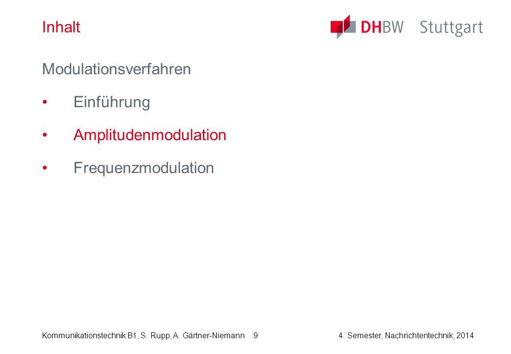 Kommunikationstechnik B1, S. Rupp, A. Gärtner-Niemann4. Semester, Nachrichtentechnik, 2014 9 Inhalt Modulationsverfahren Einführung Amplitudenmodulati