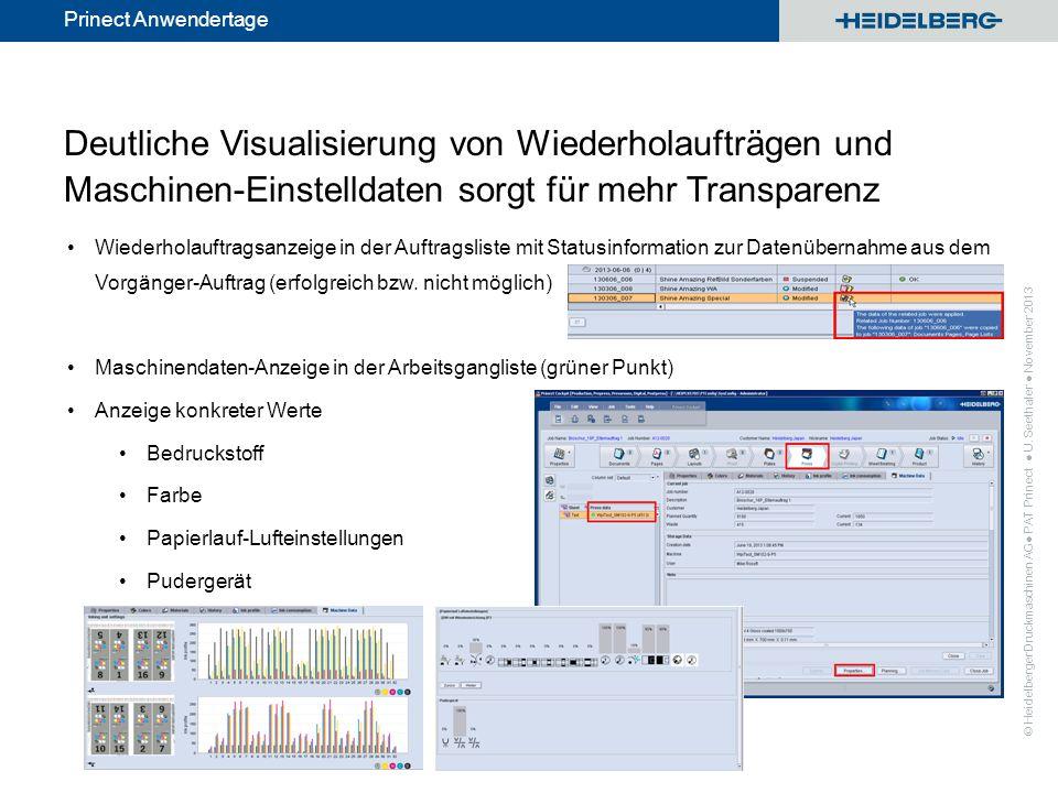© Heidelberger Druckmaschinen AG Prinect Anwendertage Deutliche Visualisierung von Wiederholaufträgen und Maschinen-Einstelldaten sorgt für mehr Trans