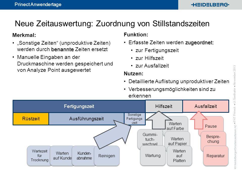 © Heidelberger Druckmaschinen AG Prinect Anwendertage Neue Zeitauswertung: Zuordnung von Stillstandszeiten Funktion: zugeordnet:Erfasste Zeiten werden