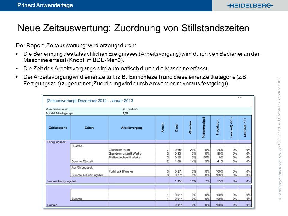 © Heidelberger Druckmaschinen AG Prinect Anwendertage Neue Zeitauswertung: Zuordnung von Stillstandszeiten Der Report Zeitauswertung wird erzeugt durc