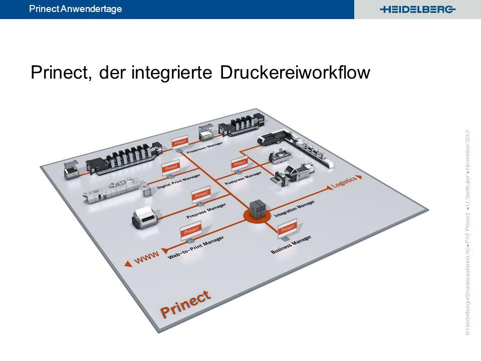 © Heidelberger Druckmaschinen AG Prinect Anwendertage Prinect, der integrierte Druckereiworkflow PAT Prinect U. Seethaler November 2013