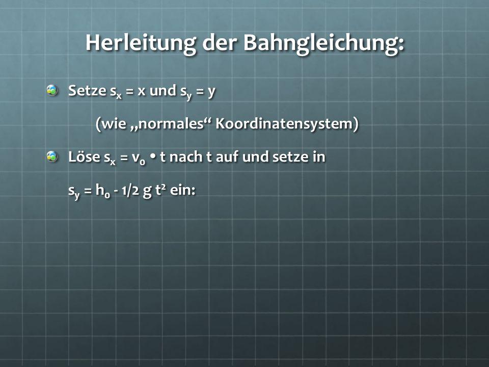 Herleitung der Bahngleichung: Setze s x = x und s y = y (wie normales Koordinatensystem) Löse s x = v 0 t nach t auf und setze in s y = h 0 - 1/2 g t