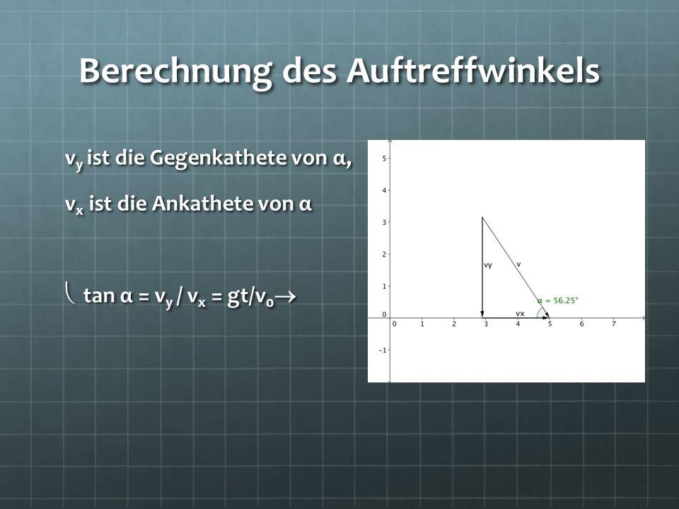 Berechnung des Auftreffwinkels v y ist die Gegenkathete von α, v x ist die Ankathete von α tan α = v y / v x = gt/v 0 tan α = v y / v x = gt/v 0