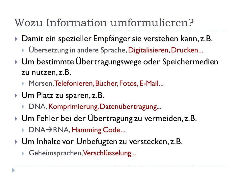 Wozu Information umformulieren? Damit ein spezieller Empfänger sie verstehen kann, z.B. Übersetzung in andere Sprache, Digitalisieren, Drucken... Um b