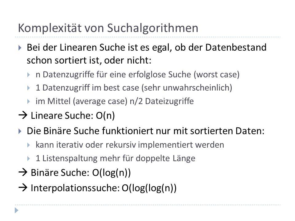 Komplexität von Suchalgorithmen Bei der Linearen Suche ist es egal, ob der Datenbestand schon sortiert ist, oder nicht: n Datenzugriffe für eine erfolglose Suche (worst case) 1 Datenzugriff im best case (sehr unwahrscheinlich) im Mittel (average case) n/2 Dateizugriffe Lineare Suche: O(n) Die Binäre Suche funktioniert nur mit sortierten Daten: kann iterativ oder rekursiv implementiert werden 1 Listenspaltung mehr für doppelte Länge Binäre Suche: O(log(n)) Interpolationssuche: O(log(log(n))
