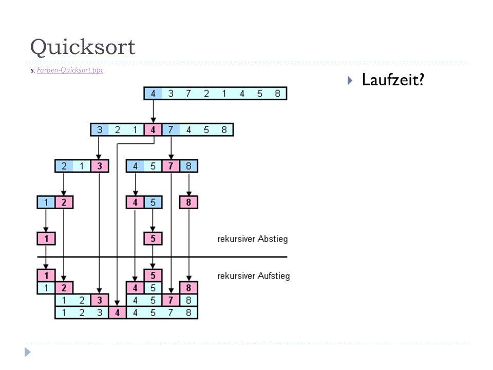 Quicksort Laufzeit? s. Farben-Quicksort.pptFarben-Quicksort.ppt