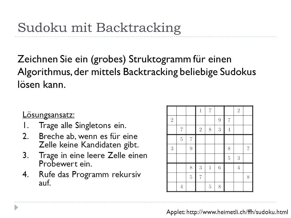 Sudoku mit Backtracking Zeichnen Sie ein (grobes) Struktogramm für einen Algorithmus, der mittels Backtracking beliebige Sudokus lösen kann.