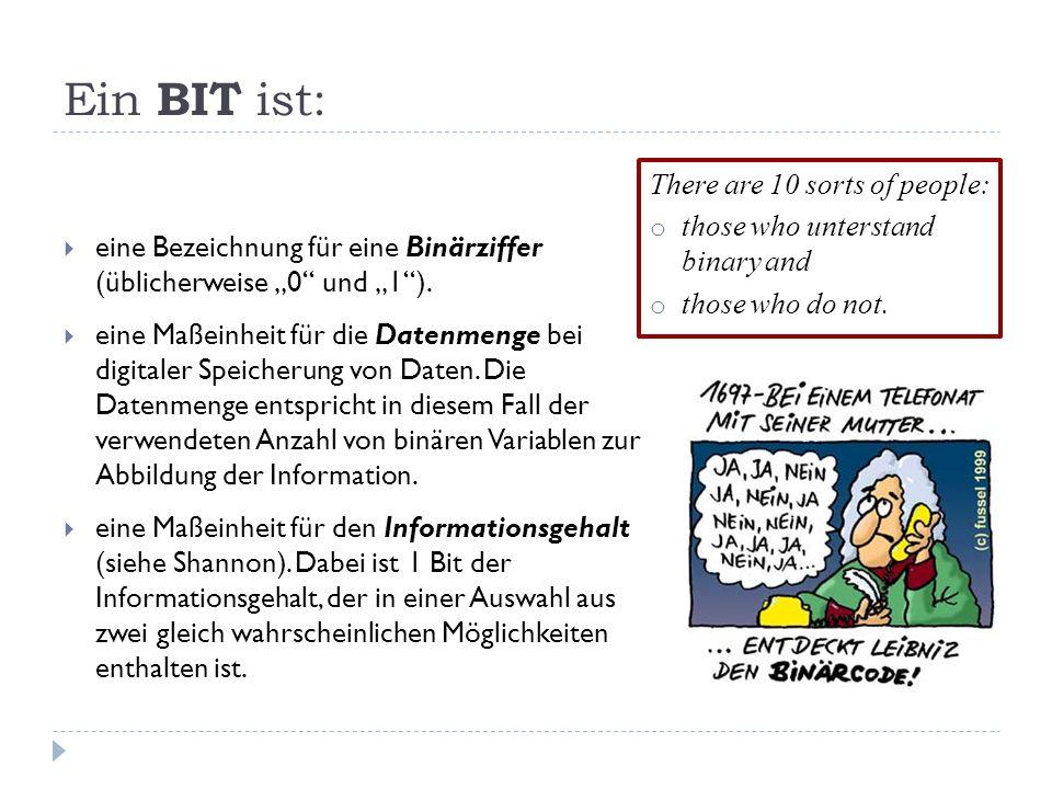 Ein BIT ist: eine Bezeichnung für eine Binärziffer (üblicherweise 0 und 1). eine Maßeinheit für die Datenmenge bei digitaler Speicherung von Daten. Di