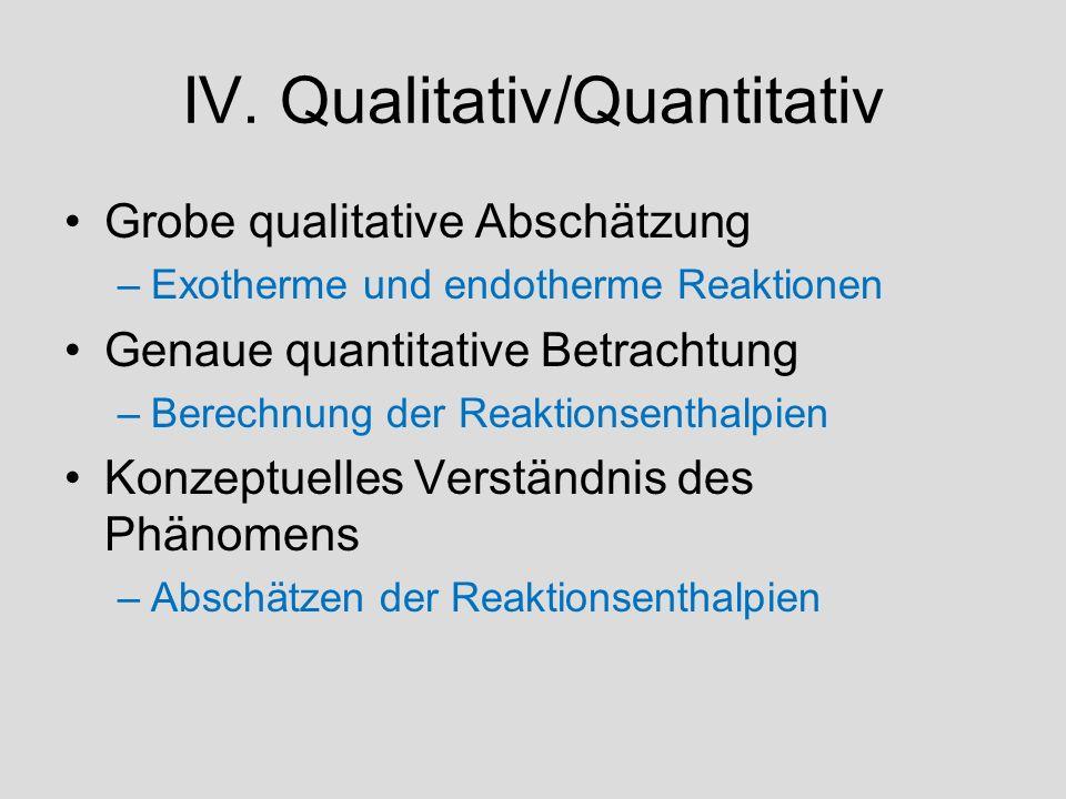 IV. Qualitativ/Quantitativ Grobe qualitative Abschätzung –Exotherme und endotherme Reaktionen Genaue quantitative Betrachtung –Berechnung der Reaktion