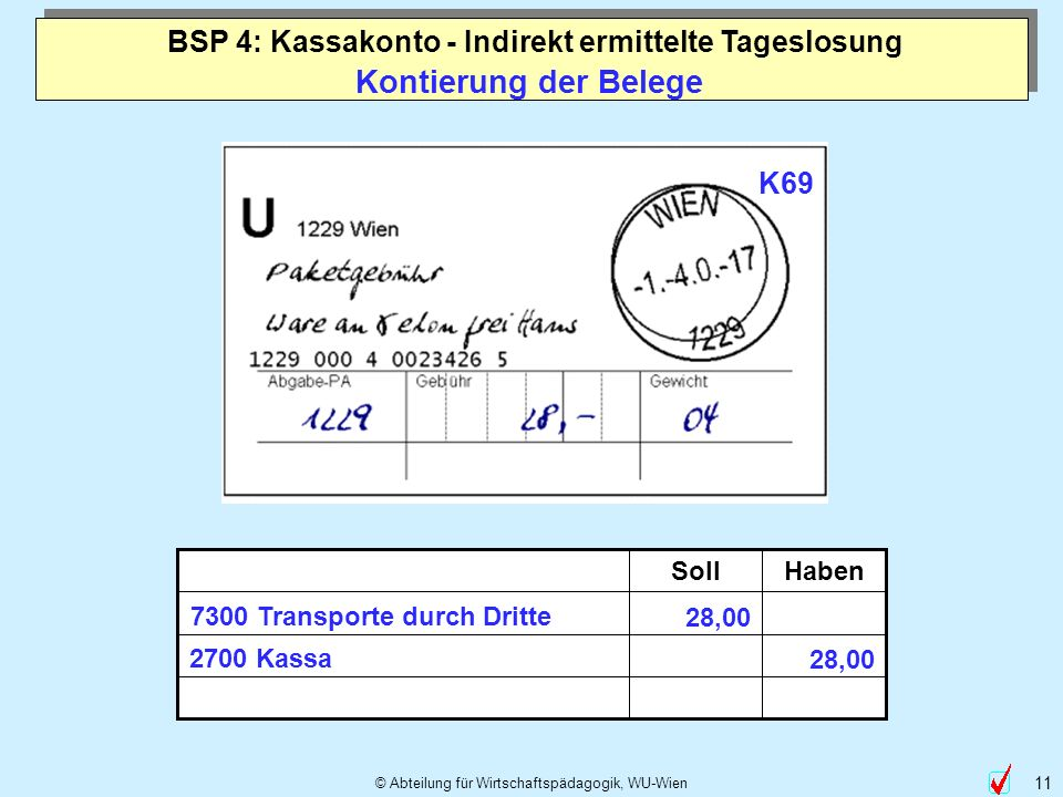 © Abteilung für Wirtschaftspädagogik, WU-Wien 11 Kontierung der Belege HabenSoll 7300 Transporte durch Dritte 2700 Kassa 28,00 K69 BSP 4: Kassakonto -