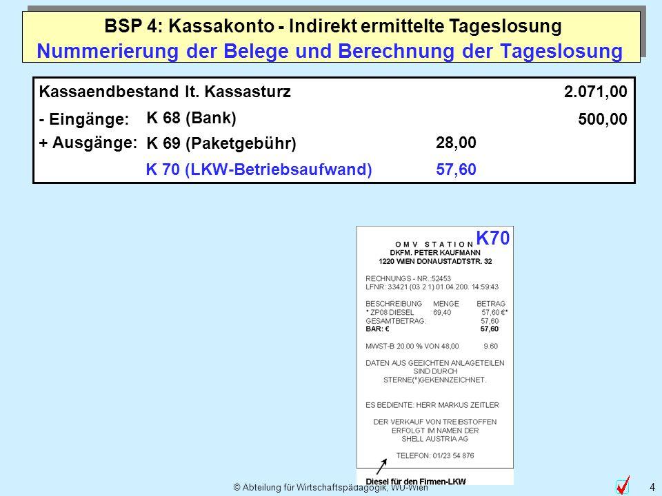 © Abteilung für Wirtschaftspädagogik, WU-Wien 4 Nummerierung der Belege und Berechnung der Tageslosung Kassaendbestand lt. Kassasturz - Eingänge: K 68