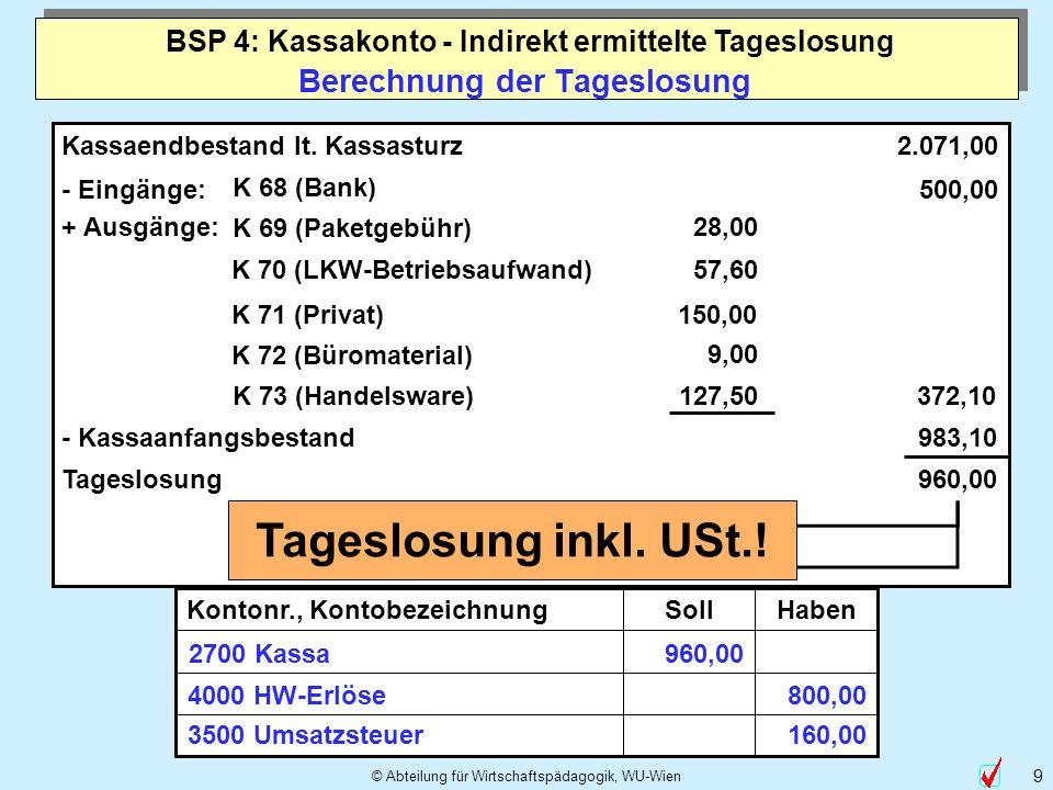 © Abteilung für Wirtschaftspädagogik, WU-Wien 9 Berechnung der Tageslosung Kassaendbestand lt. Kassasturz - Eingänge: K 68 (Bank) 2.071,00 500,00 + Au