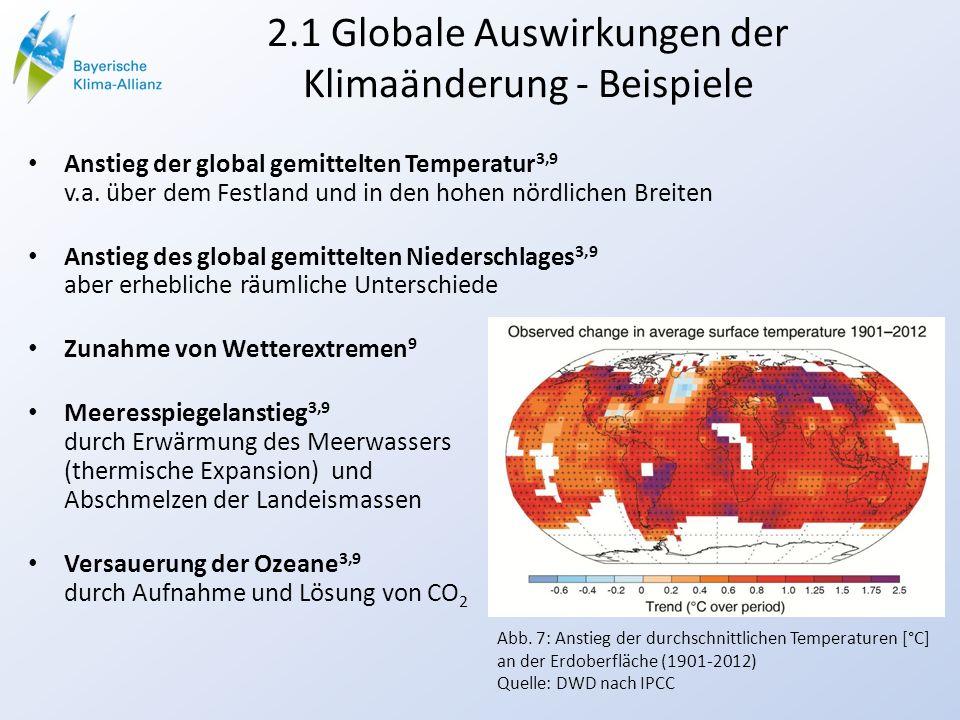 2.1 Globale Auswirkungen der Klimaänderung - Beispiele Anstieg der global gemittelten Temperatur 3,9 v.a. über dem Festland und in den hohen nördliche
