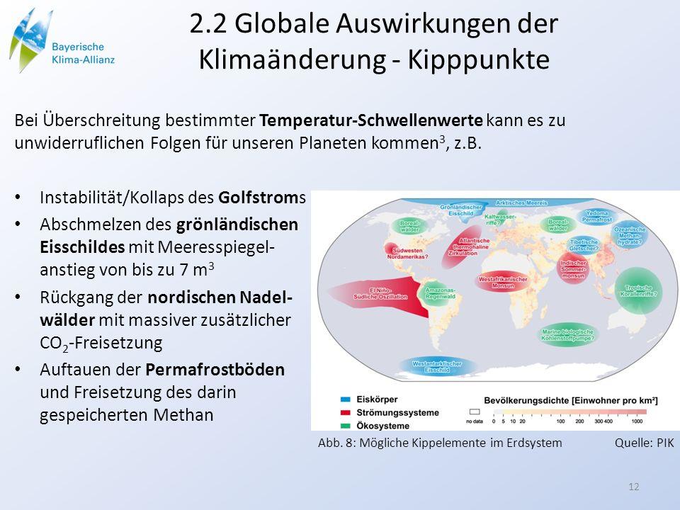 2.2 Globale Auswirkungen der Klimaänderung - Kipppunkte Bei Überschreitung bestimmter Temperatur-Schwellenwerte kann es zu unwiderruflichen Folgen für unseren Planeten kommen 3, z.B.