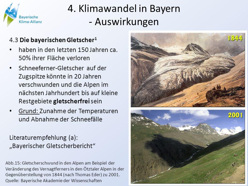 4. Klimawandel in Bayern - Auswirkungen 4.3 Die bayerischen Gletscher 1 haben in den letzten 150 Jahren ca. 50% ihrer Fläche verloren Schneeferner-Gle