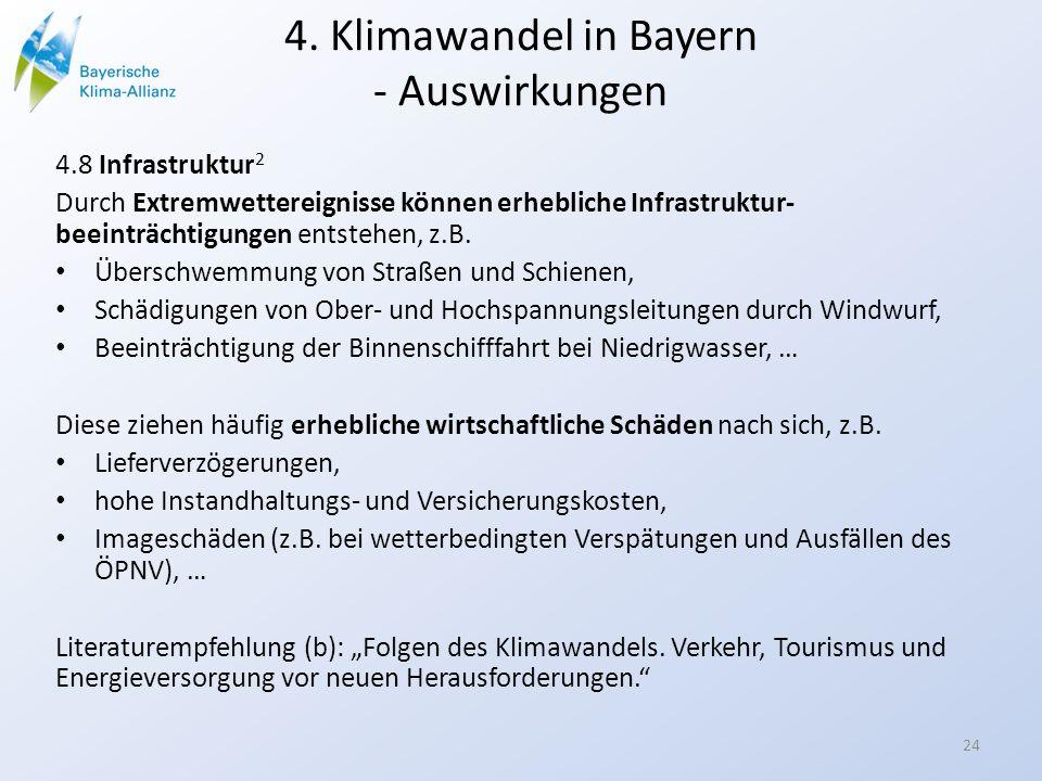 4. Klimawandel in Bayern - Auswirkungen 4.8 Infrastruktur 2 Durch Extremwettereignisse können erhebliche Infrastruktur- beeinträchtigungen entstehen,