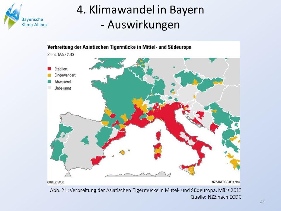 4. Klimawandel in Bayern - Auswirkungen Abb. 21: Verbreitung der Asiatischen Tigermücke in Mittel- und Südeuropa, März 2013 Quelle: NZZ nach ECDC 27