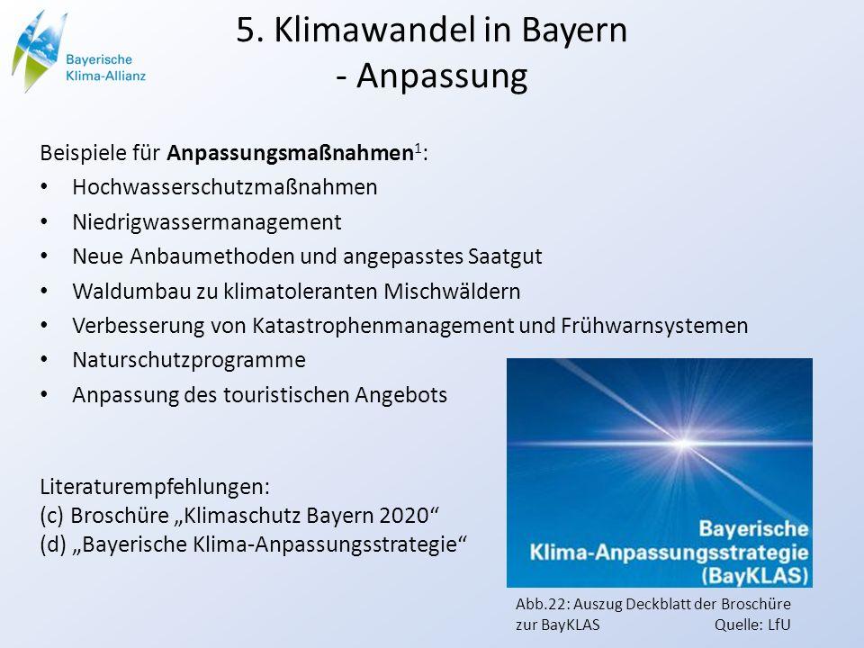 5. Klimawandel in Bayern - Anpassung Beispiele für Anpassungsmaßnahmen 1 : Hochwasserschutzmaßnahmen Niedrigwassermanagement Neue Anbaumethoden und an