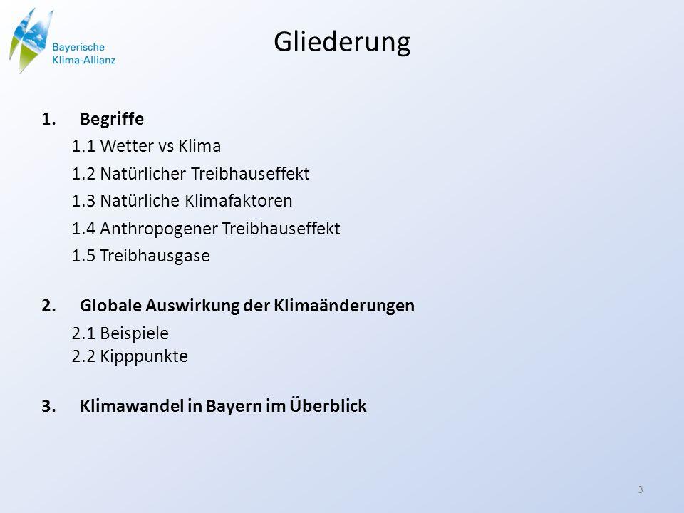 Gliederung 1.Begriffe 1.1 Wetter vs Klima 1.2 Natürlicher Treibhauseffekt 1.3 Natürliche Klimafaktoren 1.4 Anthropogener Treibhauseffekt 1.5 Treibhausgase 2.Globale Auswirkung der Klimaänderungen 2.1 Beispiele 2.2 Kipppunkte 3.Klimawandel in Bayern im Überblick 3