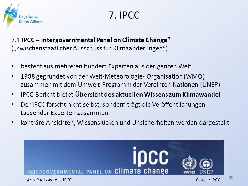 7. IPCC 7.1 IPCC – Intergovernmental Panel on Climate Change 7 (Zwischenstaatlicher Ausschuss für Klimaänderungen) besteht aus mehreren hundert Expert