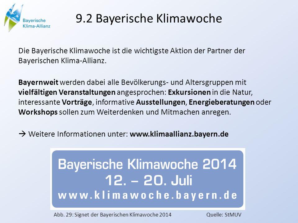 9.2 Bayerische Klimawoche Die Bayerische Klimawoche ist die wichtigste Aktion der Partner der Bayerischen Klima-Allianz. Bayernweit werden dabei alle