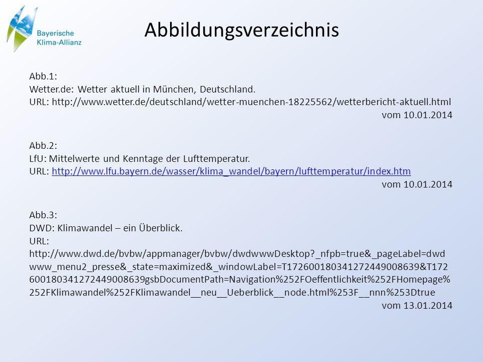 Abbildungsverzeichnis Abb.1: Wetter.de: Wetter aktuell in München, Deutschland. URL: http://www.wetter.de/deutschland/wetter-muenchen-18225562/wetterb