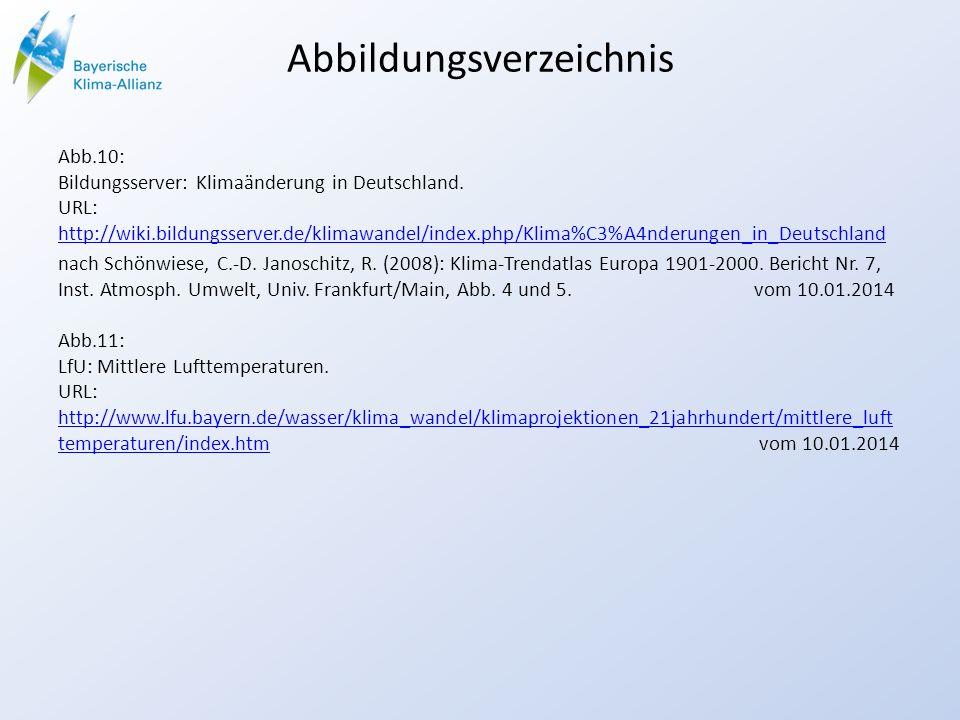 Abbildungsverzeichnis Abb.10: Bildungsserver: Klimaänderung in Deutschland. URL: http://wiki.bildungsserver.de/klimawandel/index.php/Klima%C3%A4nderun