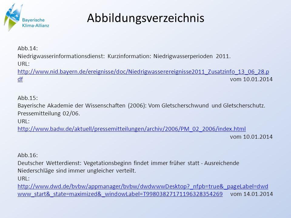 Abbildungsverzeichnis Abb.14: Niedrigwasserinformationsdienst: Kurzinformation: Niedrigwasserperioden 2011. URL: http://www.nid.bayern.de/ereignisse/d