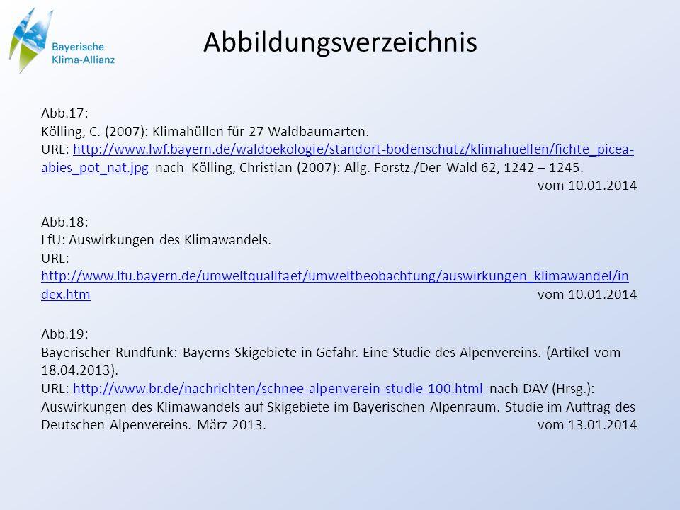 Abbildungsverzeichnis Abb.17: Kölling, C. (2007): Klimahüllen für 27 Waldbaumarten. URL: http://www.lwf.bayern.de/waldoekologie/standort-bodenschutz/k