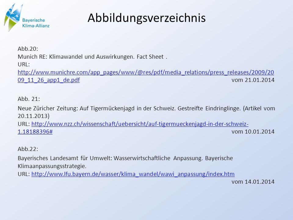 Abbildungsverzeichnis Abb.20: Munich RE: Klimawandel und Auswirkungen.