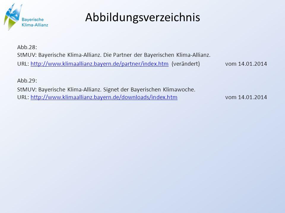 Abbildungsverzeichnis Abb.28: StMUV: Bayerische Klima-Allianz. Die Partner der Bayerischen Klima-Allianz. URL: http://www.klimaallianz.bayern.de/partn