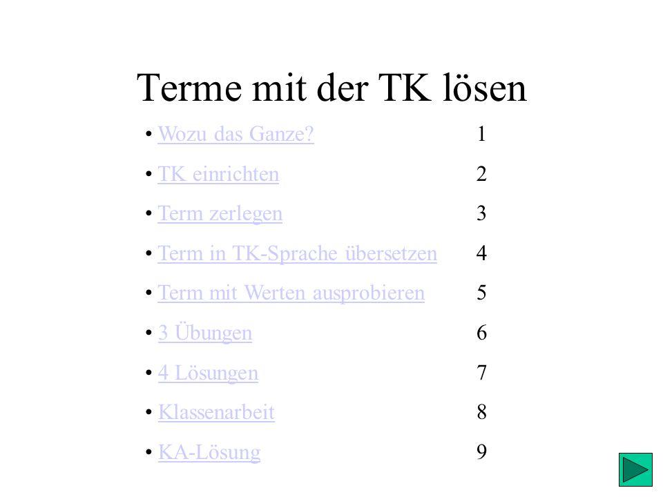 Terme mit der TK lösen – 7-T Lösung T abcE 0<a<4-1<b<+11,47 Für Tüftler!(a und b sind Ganze Zahlen) für alle a, diefür alle b, die größer als 0 größer als –1 und und kleiner als 4kleiner als 1 sindsind (1, 2, 3)(0) soll der Term a+6*b+17/c in einen Zahlenterm verwandelt und das Ergebnis ausgerechnet werden.
