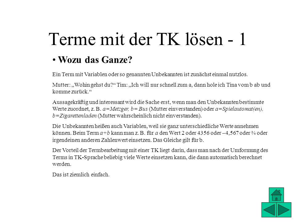 Terme mit der TK lösen - 2 TK einrichten Wir haben bereits gelernt, dass eine TK übersichtlich gestaltet sein sollte.